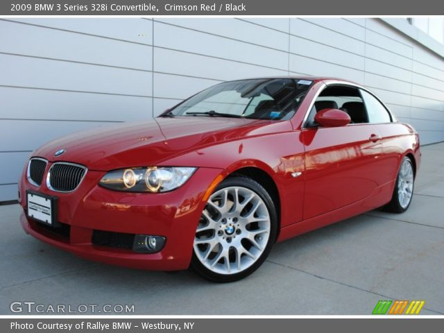 black bmw 3 series with red interior photo - 3