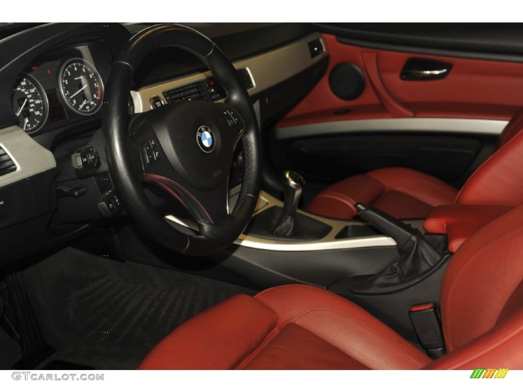 black bmw 3 series with red interior photo - 4