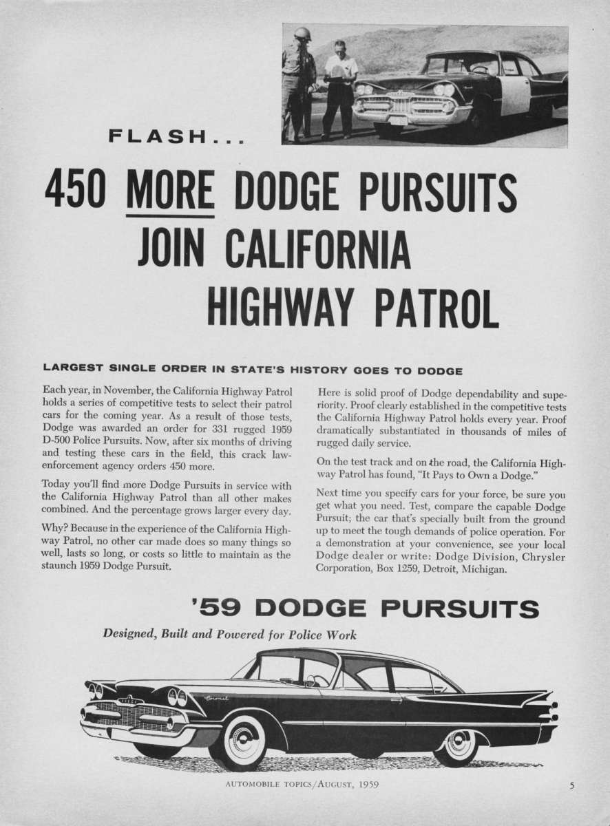 1959 dodge coronet police vehicle